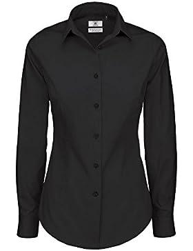 B&C- Camisa de Manga Larga Black Tie Para Mujer