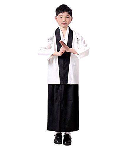 onelle Japanische Kimono Kinder Samurai Kostüm Faschingskostüm(11-12 Jahre alt,Weiß) (Traditionelle Japanische Kostüme)