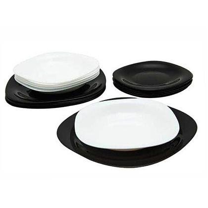 Juego completo de 18 piezas Juego de utensilios para 6 personas de LUMINARC Karine negro y blanco, Black, white Noir y cristal de ópalo cod.9332 Blanc