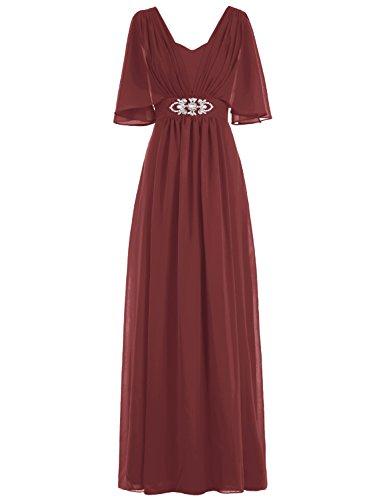 Bbonlinedress Robe de mère de la mariée forme empire avec manches longueur ras du sol Bordeaux