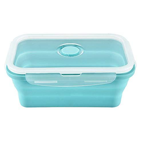 Peakpet Faltbar Brotdose Kinder Erwachsene Silikon Lunchbox zusammenklappbar Frischhaltedose Bentobox Leicht tragbar Brotzeitbox Mikrowellenfest und Spülmaschinenfest (1200ML, Blau)