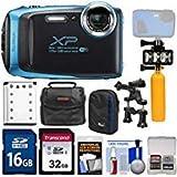 Fujifilm FinePix XP130 Shock & Waterproof Wi-Fi Digital Camera (Sky Blue) with 32GB Card + Battery + Cases + Dive Light + Buoy Handle + Bike Mount + Kit