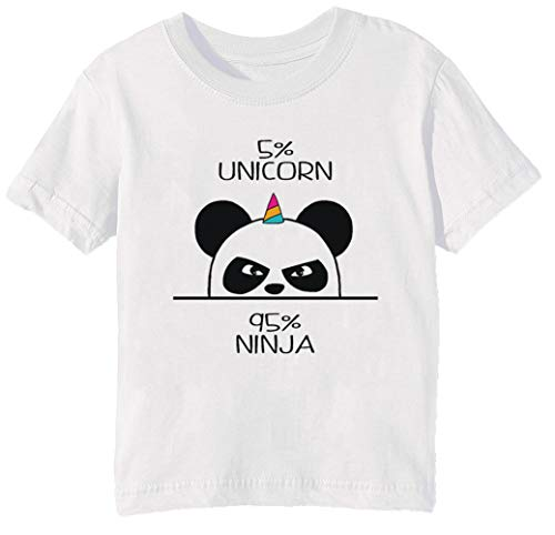 8860e11a2040 Unicorn Ninja Panda Niños Unisexo Niño Niña Camiseta Cuello Redondo Blanco  Manga Corta Tamaño XL Kids Boys Girls White X-Large Size XL