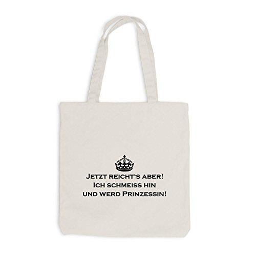 Jutebeutel - Keep Calm Ich schmeiss hin und werd Prinzessin - Fun Krone Beige