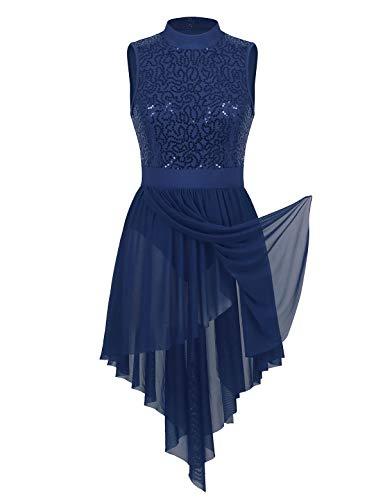 Tiaobug Damen Pailletten Ballettkleid Ballettanzug Rollkragen Body Rückenfrei Ballett Trikot mit Asymmetrisch Tüllrock Gymnastik Tanz Kostüm Navy Blau - Gymnastik Tanz Kostüm