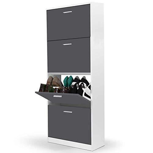 IDMarket - Meuble à chaussures blanc 4 portes gris foncé