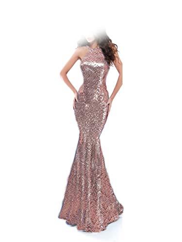 Special Bridal Sequin Lange Meerjungfrau Gl?nzendes Abendkleid Partykleid Abendkleid Rose Gold US10