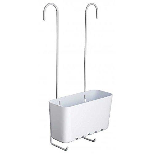 Sanixa TA4522001 Hochwertiges Duschregal zum Einhängen | Messing, Kunststoff | rostfrei | Duschablage ohne Bohren | Duschkorb | Wannenablage | stabil (Dusche Caddy Weiß Kunststoff)