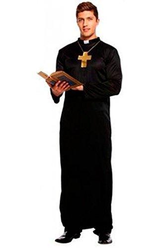 Fancy Me Herren Schwarz Vikar mit Kreuz Religiös Junggesellenabschied Pfarrer und Torten Party Kostüm Kleid Outfit STD & XL - Schwarz, STD