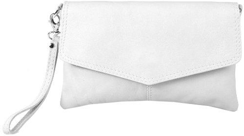 Sarandon-Clutch-Abendtasche-Echt-Leder-Made-in-Italy-Weiss