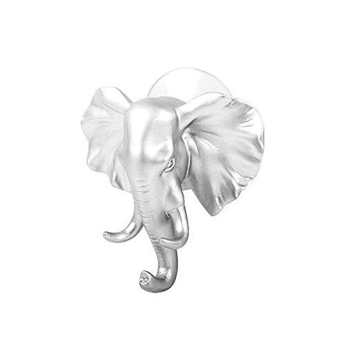 Wandhalterung mit Elefant, selbstklebend, für Kleidung, Haken und Kleiderbügel, für Wand, Schlüsselanhänger, für Schlafzimmer, Dekoration silber -