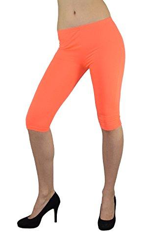 S&LU super Damen Capri-Leggings 3/4-Leggings in vielen tollen Farben Größe XXS - M (XXS - M, Neon-Orange)