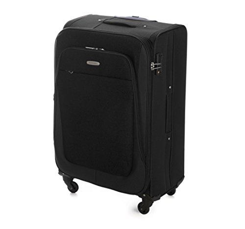 WITTCHEN Reisekoffer Trolley 18'' Koffer, 23x55x35 cm, Rot, 35 Liter, Größe: klein, S, Polyester, TSA Zahlenschloss, 56-3S-481-30 Schwarz