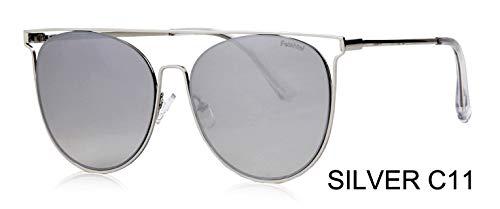 LKVNHP Marke Metall Schild Sonnenbrille Männer Sommer Sea Blue Trendy Cat Eye Sunglasse Frauen Sonnenbrille Uv Protector GradientWTYJ064 Silber c11