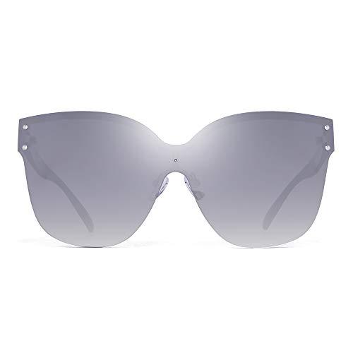 JIM HALO Oversized Randlos Sonnenbrillen für Damen Ein Stück Gradient Linse Schatten(Silber Schwarzer Rahmen/Gradient Silberne Linse)
