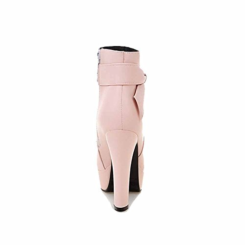 AgooLar Damen Pu Leder Niedrig Spitze Rein Reißverschluss Hoher Absatz Stiefel Pink