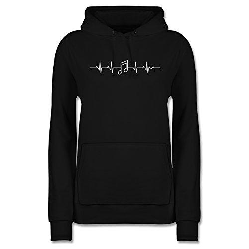 Shirtracer Symbole - Herzschlag Musik Note - M - Schwarz - JH001F - Damen Hoodie (Noten Geschenke)