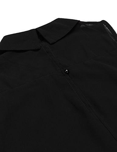 Parabler Damen Sommer Shirt Chiffon Bluse Ärmellos Basic Oberteile Top mit Kragen Schwarz