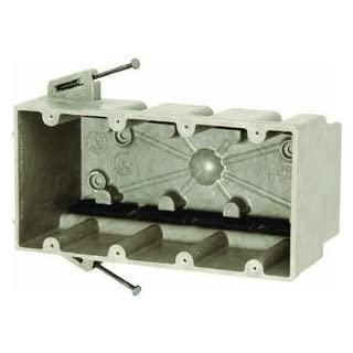 Allied Moulded Products 4300-NK Fiberglass Reinforced Thermoset Polyester 4-Gang Residential/Receptacle Electrical Switch Box 7-1/2 Inch x 3-3/4 Inch x 3 Inch 60 Cubic-Inch FiberglassBox™