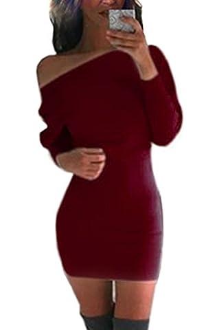 ZEARO Elegant Damen Kleid Langarm Schulterfrei Schlank Elatisch Pullover Etuikleid Partykleid Cocktaikleid