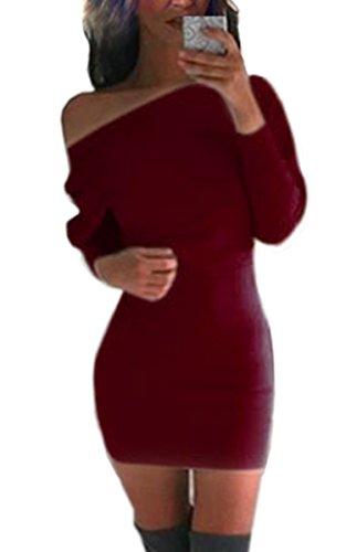 ZEARO Sexy Damen Partykleid Minikleid Pullover Lang Langarm Bodycon Schulterfrei Slim Fit Pulli Jerseykleid Weinrot
