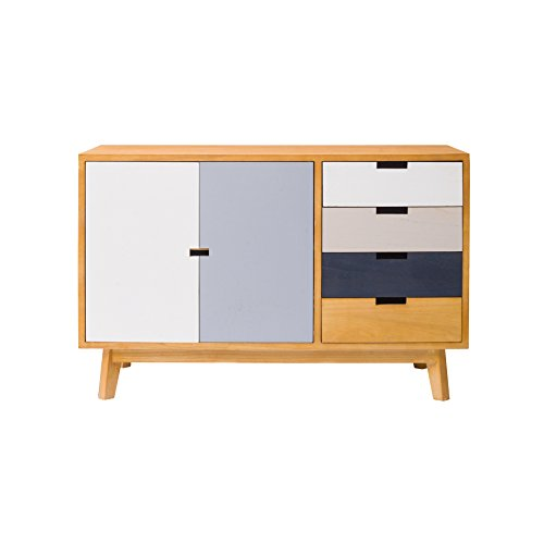 Mobili Rebecca® Sideboard Chest of Drawers 2 Doors 4 Drawers Brown White Grey Wood Sitting Room Bedroom (Cod. RE4925)