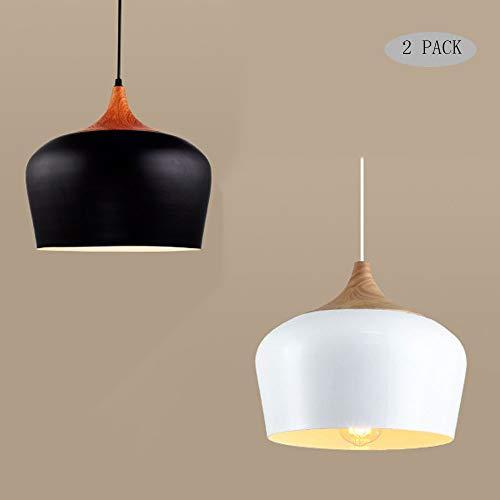 Nordic Creativo Cabeza simple Lámpara de madera maciza Cabeza de aluminio Accesorios de iluminación colgantes, Luces colgantes modernas simples ajustables LED, Lámparas de techo Art Deco Dormitorio Es