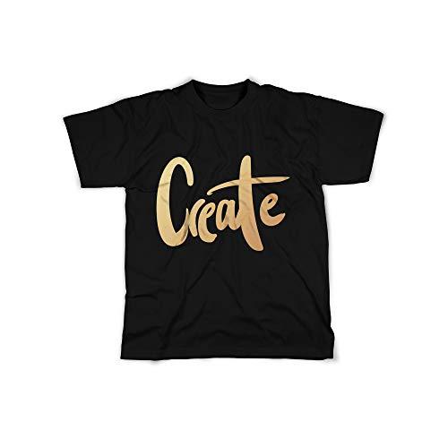 licaso Herren T-Shirt mit Create Gold Aufdruck in Black Gr. XXXXL Bling Diamant Design Top Shirt Herren Basic 100% Baumwolle Kurzarm Design-diamant Bling