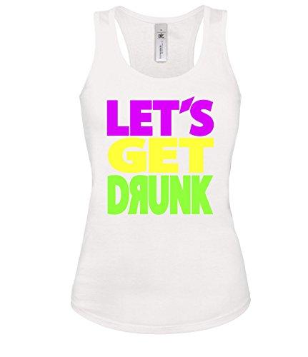 Luckja Lets get drunk Damen Tanktop Weiss-Bunt Grösse XL