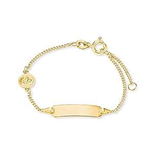 amor Identarmband für Mädchen mit Schutzengel für aus 375 Gold, längenverstellbar 12+2 cm
