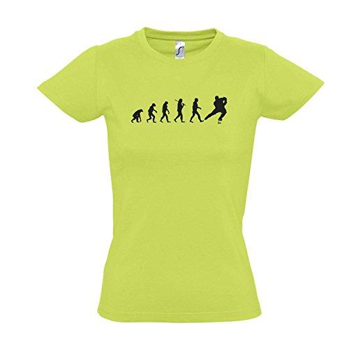 Damen T-Shirt - EVOLUTION - Eishockey Sport FUN KULT SHIRT S-XXL Apple green - schwarz