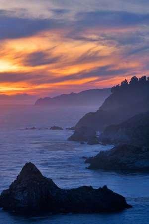 Feelingathome-STAMPA-ARTISTICA_x_cornice-CA,-scena-Big-Sur-costiera-al-tramonto-cm61x40-arredo-POSTER-fineart