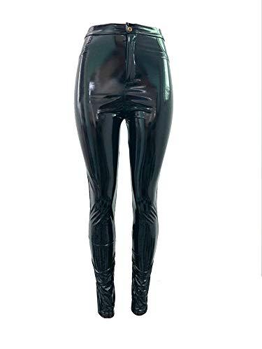 Kostüm Taille 28 - Insun Damen Leggings Glänzend Hohe Taille Latex Hose für Karneval Kostüm Schwarz 28W