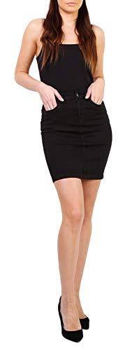Onado Mini Jupe Femme en Jeans Jupe Courte Casual Stretch Denim Noir Taille 38