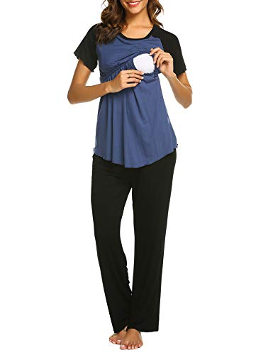 Balancora Damen Stillpyjama Sommer Umstandspyjama Set Baumwolle Still-Schlafanzug mit Kurzarm Shirt und Lang Hose