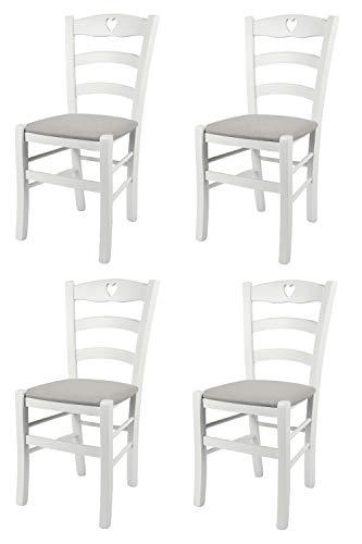 Tommychairs - set 4 sedie cuore 38 per cucina e sala da pranzo, struttura robusta in legno di faggio laccato bianco e seduta imbottita e rivestita con tessuto grigio perla