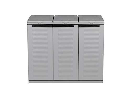 Hier passt viel rein! XXL 3-Türen Gartenschrank mit drei Halterungen für Müllsäcke und Recycling. Frontseitig und von Oben zu öffnen. In neutralem Grau. - 4