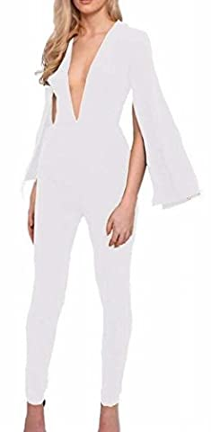 Fly Year-uk Women Cotton Spandex Solid Slim Fit Casual Jumpsuit Romper White XS