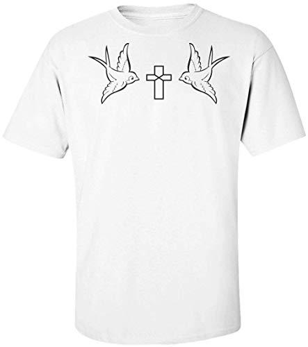 Two Birds With A Cross Minimal Design Männer Men's T-Shirt Large