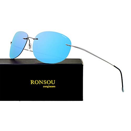 RONSOU Ultraleichte Randlose Reine Titan-bunte Mode Polarisierte Sonnenbrille für Männer und Frauen_Graue Rahmen Blaue Linse (gespiegelt)