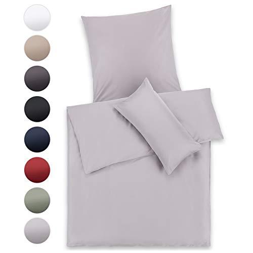 Blumtal Mako Satin Bettwäsche 155x220 cm mit Kissenbezug 80x80 cm - 100% Baumwolle, Superweiches Bettbezug Set Grau, Grey