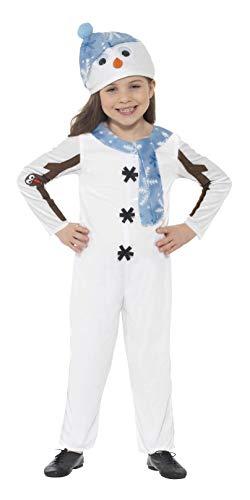 Smiffys 21480T2 - Kinder Unisex Schneemann Kostüm, Alter: 3-4 Jahre, One Size, weiß