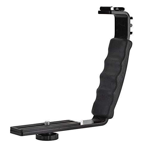 EBTOOLS Kamerablitz L-Bracket Dual Hot Schuhe Halter Mount Adapter Mount DV Mikrofon LED Licht Mit 1/4