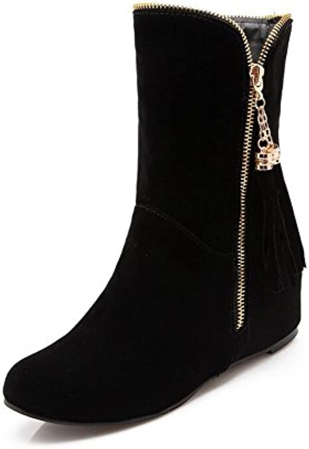 Beauqueen Estudiante Winter Warm Botines Flat Heel Cosy Comfortable Shoes Zip-up Antideslizante Zapatos (Color...