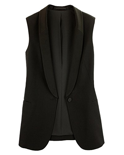 LaoZanA Donna Eleganti Chiffon Ufficio Business Senza Maniche Blazer Tailleur Giacche Cappotto Gilet Nero M