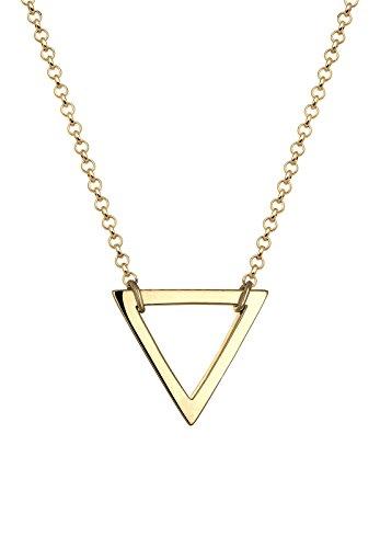 Elli Damen Schmuck Echtschmuck Halskette Kette ohne Anhänger Dreieck Geo Trend Sterling Silber 925 Vergoldet Länge 45 cm