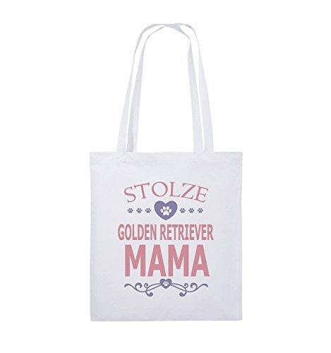 Borse Comiche - Orgogliosa Golden Retriever Mamma - Cuore - Borsa Di Juta - Manico Lungo - 38x42cm - Colore: Nero / Bianco-neon Verde Bianco / Rosa-viola