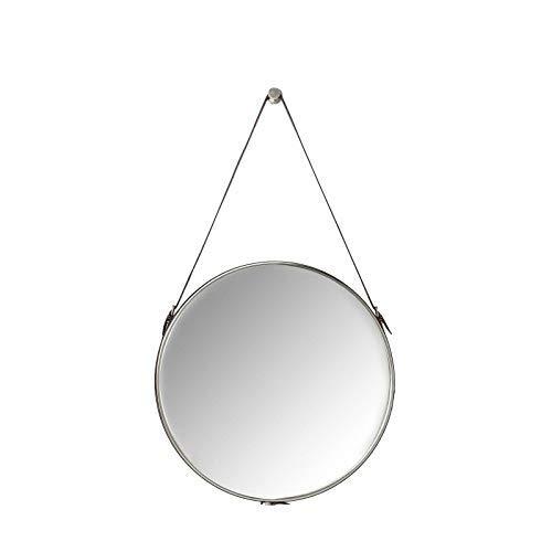 Kare Design Spiegel Hacienda Ø61cm, Wandspiegel, Schminkspiegel, Badspiegel, Flur, Wohnzimmer, großer, runder, braun, grau, (H/B/T) 61x61x5cm (Spiegelfläche), Schaumstoff, (