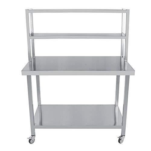 Edelstahl Küchentisch, 4 Ebenen Edelstahl Arbeitstisch, Edelstahl Küchenwagen, Arbeitstische für Lebensmittelzubereitung, 150 x 115 x 60cm