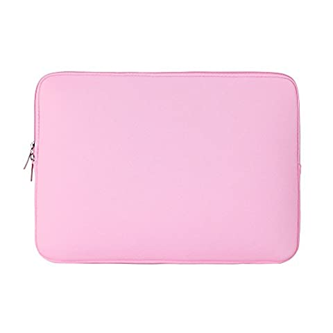 RAINYEAR 15 Inch Soft Neoprene Laptop Sleeve Case Slim Padded Computer Sleeve Bag For 15-15.4 Inch Macbook Pro Notebook UltrabookTablet,Apple/HP/Lenovo/Dell/Acer/Samsung/Asus(Pink)